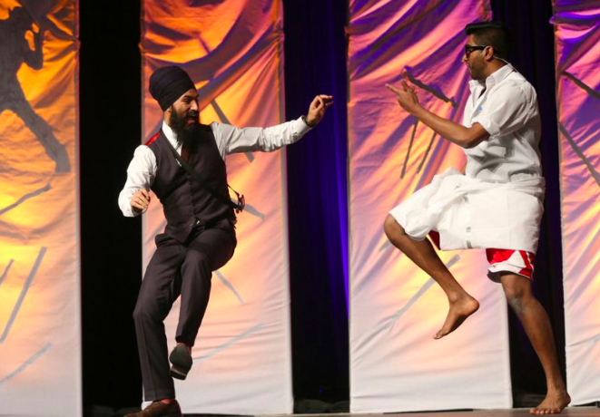 Jagmeet Singh dancing with previous Thaalam Emcee Banugan in Thaalam 2014.
