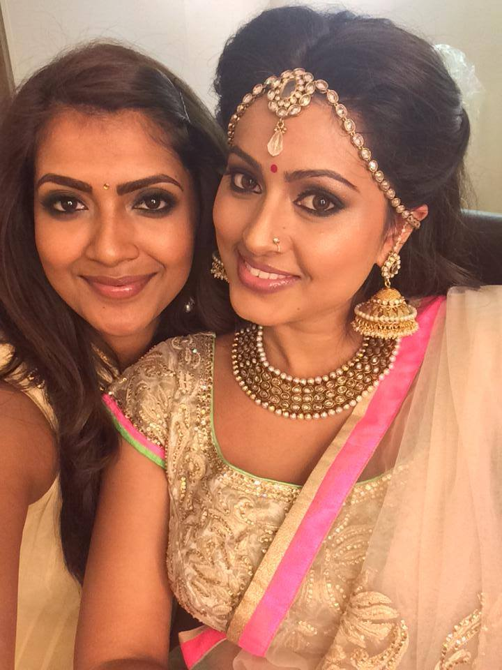 Vithya with Tamil actress Sneha.
