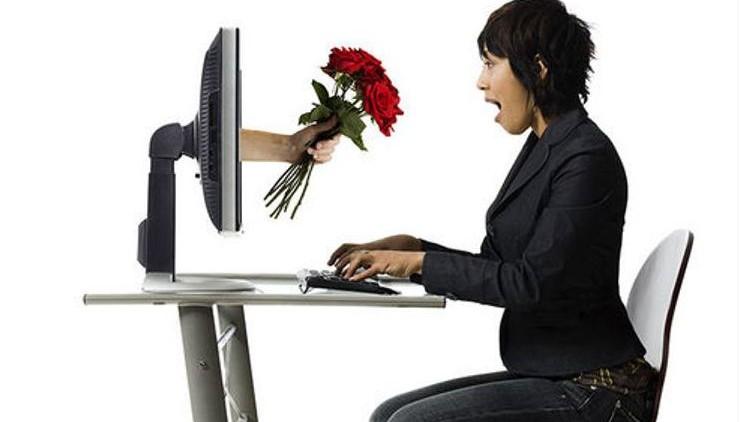 Woman receiving roses online