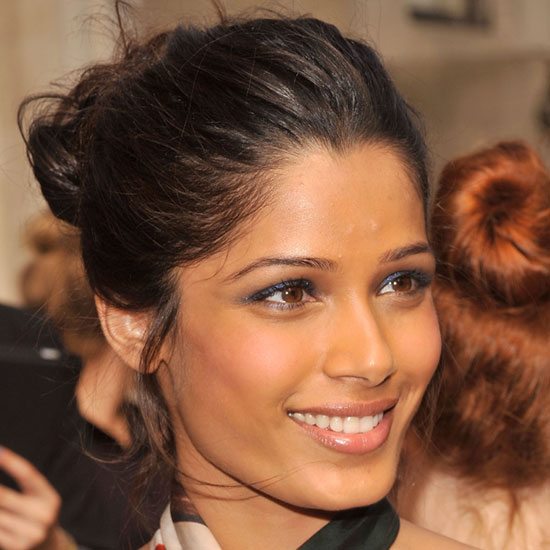 Try using colour like Frieda Pinto to create a shimmery effect.