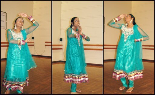 Meera Tharmalingam dancing in a program. Dance is her one of her most favourite hobbies.